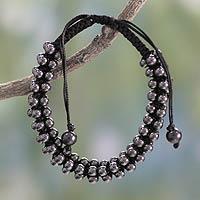 Hematite Shambhala-style bracelet, 'Tranquil Night' - Hematite Shambhala-style Bracelet Crafted by Hand