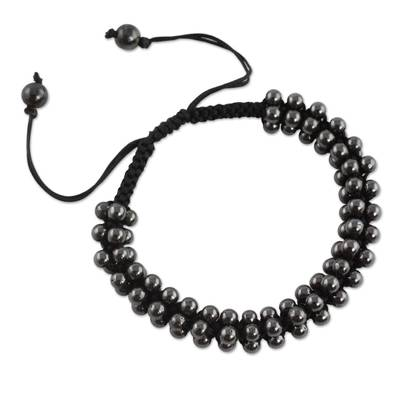 Hematite Shamballa Bracelet Crafted by Hand