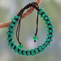 Onyx Shambhala-style bracelet, 'Tranquil Meadow' - Green Onyx Beaded Shamballa Bracelet