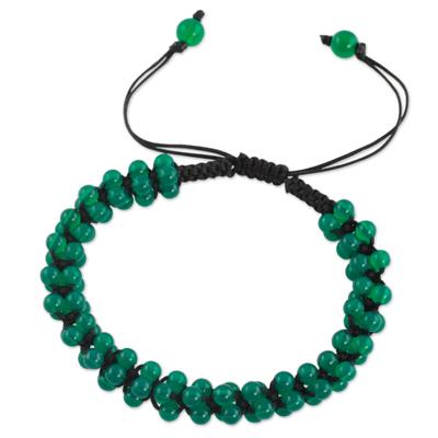 Onyx Shambhala-style bracelet, 'Tranquil Meadow' - Green Onyx Shambhala-style Bracelet Crafted by Hand