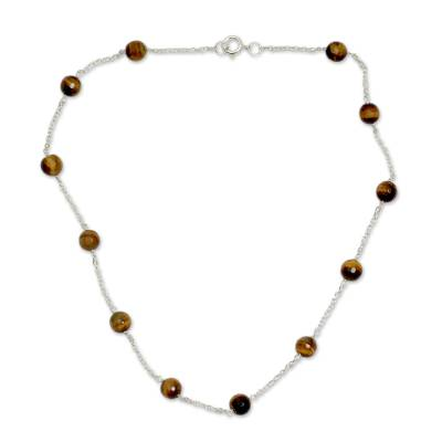 Tiger's eye station necklace, 'Golden Warmth' - Tiger's Eye Station Necklace