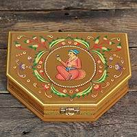 Decorative wood box, 'Royal Love' - Handpainted Decorative Box from India
