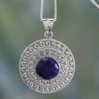 Lapis lazuli pendant necklace, 'Mystical Shield' - Sterling Silver and Lapis Lazuli Necklace from India Jewelry
