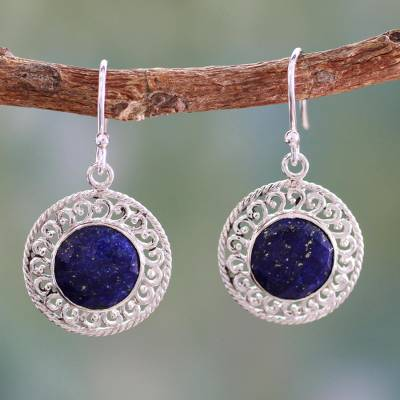 Lapis lazuli dangle earrings, 'Mystical Shield' - Sterling Silver and Lapis Lazuli Earrings from India Jewelry