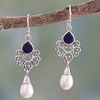 Cultured pearl and lapis lazuli dangle earrings, 'Azure Crown'