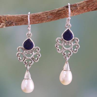 Cultured pearl and lapis lazuli dangle earrings, 'Azure Crown' - Artisan Crafted Pearl and Lapis Earrings