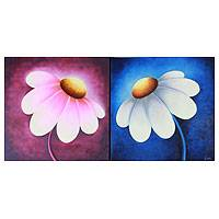 'Happy Blossoms' (diptych) - Fine Art Original Paintings from India (diptych)