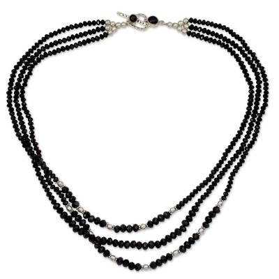 Handcrafted Black Onyx Triple Strand Necklace
