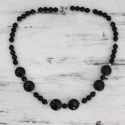 Onyx strand necklace, 'Midnight Magic' - Modern Black Onyx Necklace