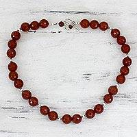 Carnelian strand necklace, 'Passion's Glow' - Modern Carnelian Necklace