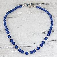 Chalcedony strand necklace, 'Heavenly Sky' - Blue Chalcedony Beaded and Sterling Silver Necklace