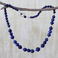 Lapis lazuli strand necklace, 'Regal Blue'