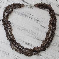 Smoky quartz strand necklace,