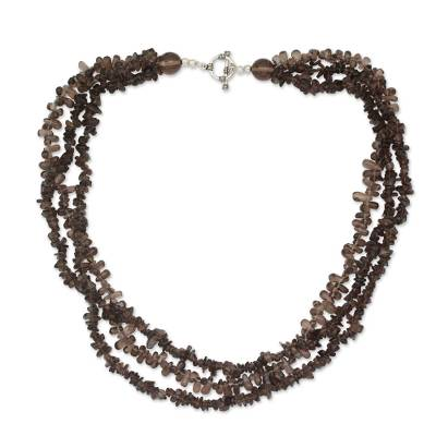 3 Strand Smoky Quartz Necklace