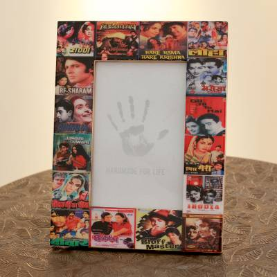 Wood photo frame, 'Bollywood Magic' (4x6) - Handcrafted Wood Phto Frame from India (4x6)