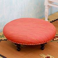 Silk and mango wood ottoman, 'Holi Sunrise' - Handcrafted Orange Silk Ottoman from India