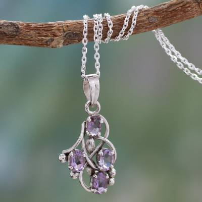 Amethyst pendant necklace, 'Twirling' - Amethyst and Sterling Silver Necklace India Jewelry