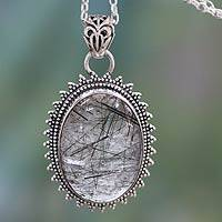 Tourmalinated quartz pendant necklace, 'Forest Moon' - Tourmalinated Quartz Necklace India Sterling Silver Jewelry