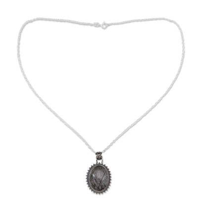 Tourmalinated quartz pendant necklace, 'Forest Moon' - Tourmalinated Quartz Necklace India Sterling Silver Jewelry