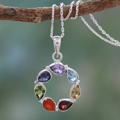 Multi-gemstone chakra necklace, 'Peace Within' - Multi-gemstone Necklace Chakra Jewelry from India