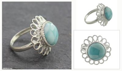 Larimar flower ring, 'Azure Blossom' - Larimar Single Stone Ring