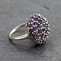 Amethyst cluster ring, 'Jacaranda' - Handmade Amethyst Cluster Ring