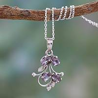Amethyst pendant necklace, 'Sonnet' - India Amethyst Pendant Necklace