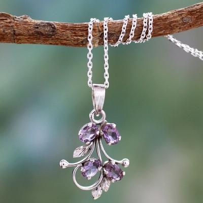 Amethyst pendant necklace, 'Sonnet' - India Amethyst Pendant Necklace