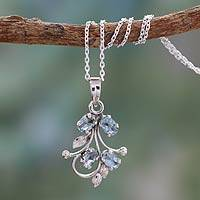 Blue topaz pendant necklace, 'Sonnet' - India Blue Topaz Pendant Necklace