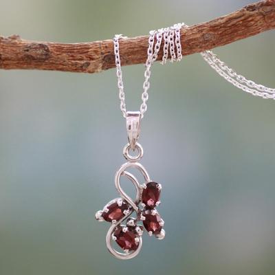 Garnet pendant necklace, 'Forbidden Fruit' - 1.5 Carat Garnet Pendant on Sterling Silver Necklace