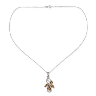 Citrine pendant necklace, 'Forbidden Fruit' - 1.5 Carat Citrine Pendant on Sterling Silver Necklace