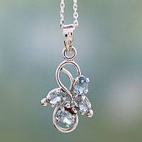 Blue topaz pendant necklace, 'Forbidden Fruit' - 1.5 Carat Blue Topaz Pendant on Sterling Silver Necklace