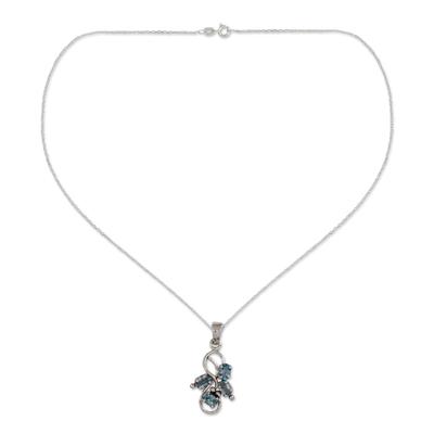 1.5 Carat Blue Topaz Pendant on Sterling Silver Necklace