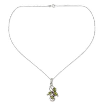 1.5 Carat Peridot Pendant on Sterling Silver Necklace