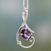 Amethyst pendant necklace, 'Flow' - Fair Trade Sterling Silver and Amethyst Necklace