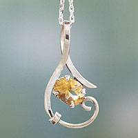 Citrine pendant necklace, 'Flow' - Fair Trade Sterling Silver and Citrine Necklace