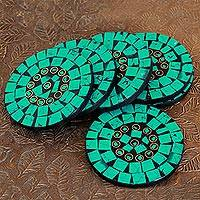 Coasters, 'Turquoise Celebration' (set of 6) - Set of 6 Turquoise Colored Coasters Artisan Crafted in India