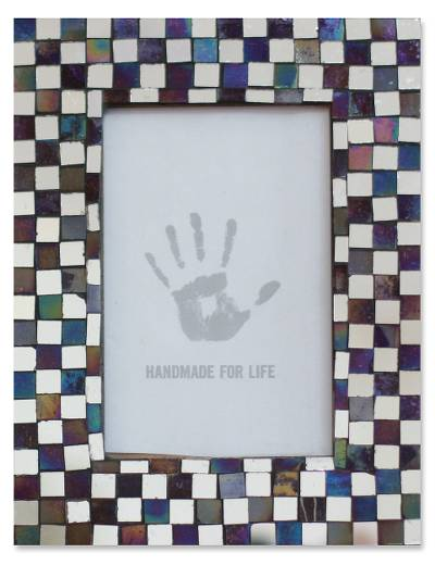 Mosaic glass photo frame, 'Memoirs of Amethyst and Silver' (4x6) - Handcrafted Glass Tile Photo Frame (4x6)