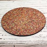 Mosaic glass vanity tray, 'Earth's Vanity' - Round Glass Tile Tray Handcrafted in India