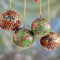 Papier mache ornaments, 'Christmas Blossoms' (set of 4) - Set of 4 Handmade Floral Christmas Ornaments from India