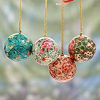 Papier mache ornaments, 'Christmas Joy' (set of 4) - India Handmade Papier Mache Christmas Ornaments (Set of 4)