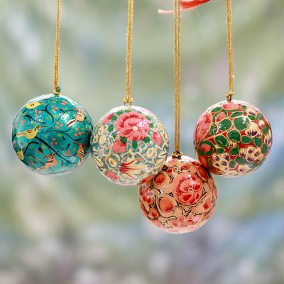 Paper Mache Christmas Ornament.India Handmade Papier Mache Christmas Ornaments Set Of 4 Christmas Joy