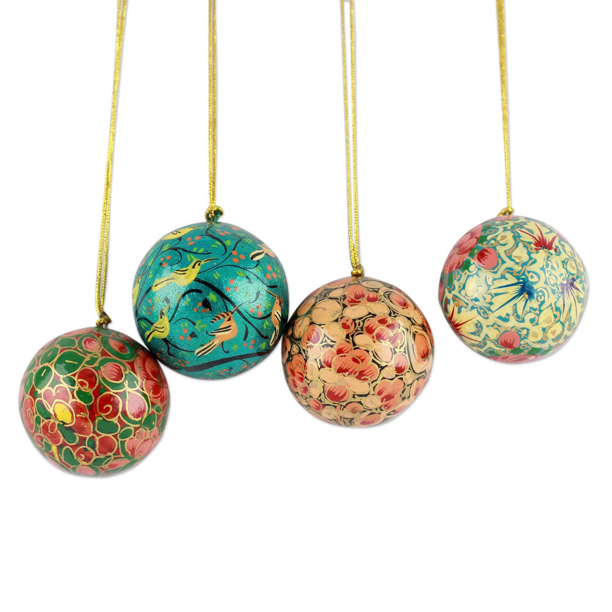India Handmade Papier Mache Christmas Ornaments (set Of 4)  Christmas Joy   Novica