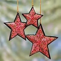 Wood ornaments, 'Pink Rose Stars' (set of 3) - Hand Painted Wood Ornaments (set of 3)