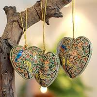 Papier mache ornaments, 'Christmas Song' (set of 3) - India Papier Mache Heart Ornaments (Set of 3)