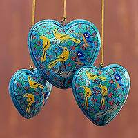 Papier mache ornaments, 'Christmas Songbirds' (set of 3) - Handmade Papier Mache Heart Ornaments (Set of 3)