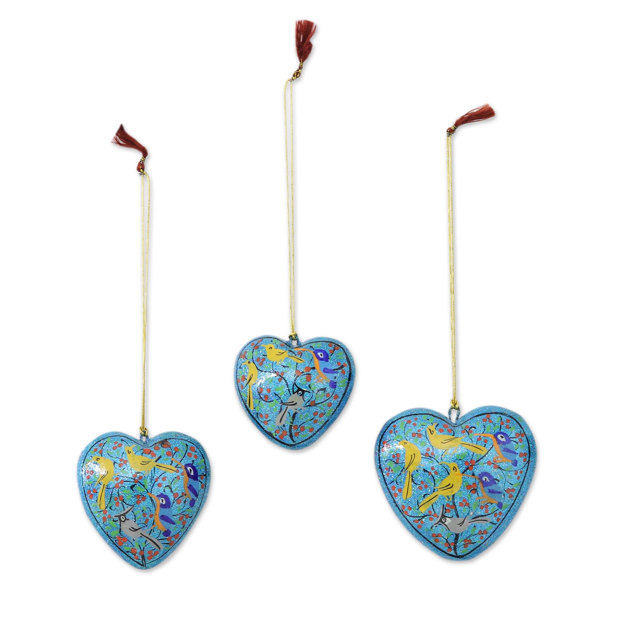 Handmade Papier Mache Heart Ornaments (set Of 3)  Christmas Songbirds   Novica