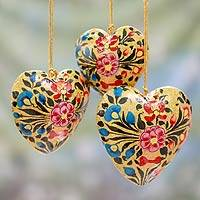 Papier mache ornaments, 'Floral Hearts' (set of 3) - Floral Papier Mache Heart Ornaments (Set of 3)