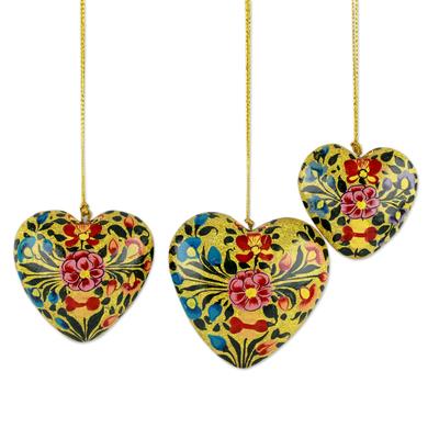 Papier mache ornaments, 'Floral Hearts' (set of 3) - Floral Papier Mache Heart Ornaments (Set of 3)