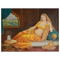 'The Lonely Queen II' - Romantic Rajasthani Mughal Portrait Painting